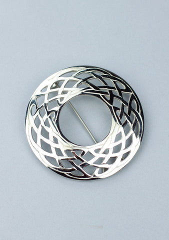 Silver Plated Celtic Plaid Brooch
