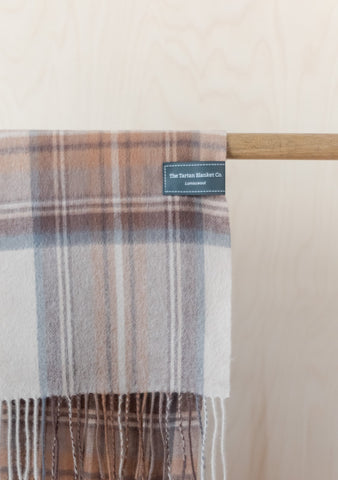 Lambswool Men's Scarf in Stewart Natural Dress Tartan