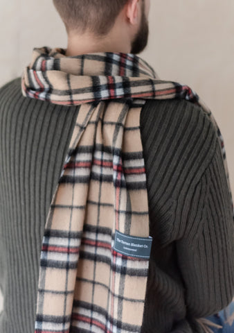 Lambswool Men's Scarf in Thomson Camel Tartan