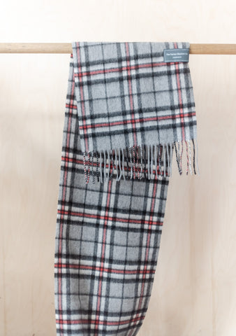 Lambswool Men's Scarf in Thomson Grey Tartan
