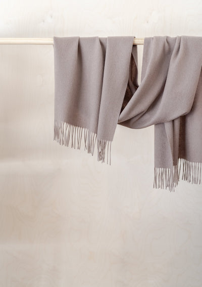 Lambswool Oversized Scarf in Taupe