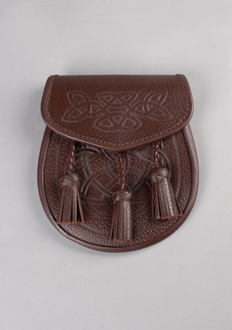Celtic Embossed Twisted Tassel Leather Sporran