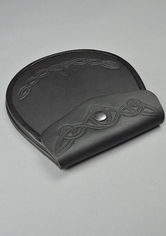 Smooth Leather Sporran With Celtic Pattern