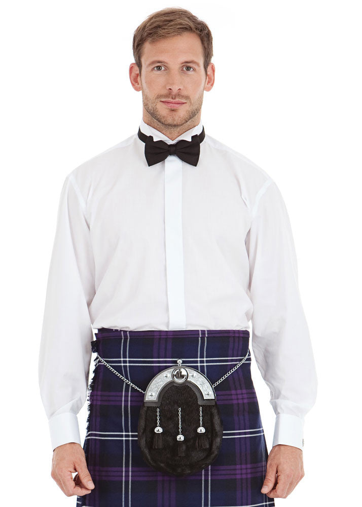 Wing collar dress shirt with double cuff kilt society for Wing tip collar shirt