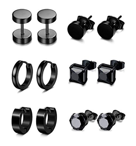 6 Pairs Stainless Steel Stud Earrings for Men & Women
