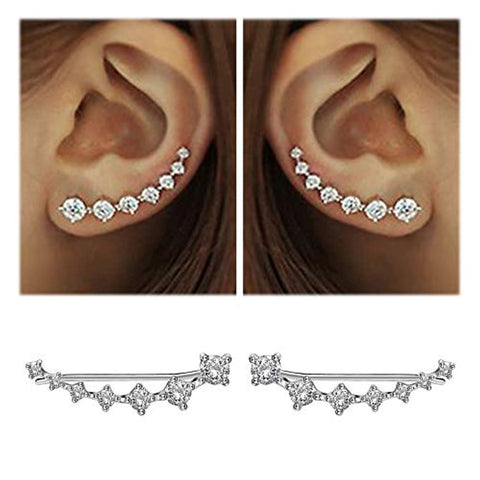 7 Crystals Ear Cuffs Sterling Silver Earrings