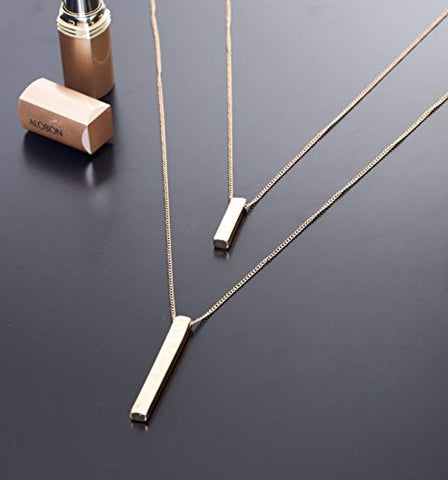 Layered Long Necklace with Bar Pendant