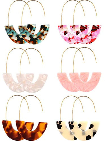 6 Pairs Resin Drop Hoop Dangle Earrings
