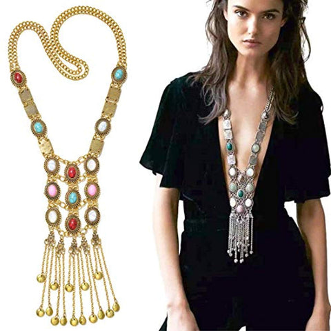 Womens Vintage Silver/Gold Long Ethnic Necklace