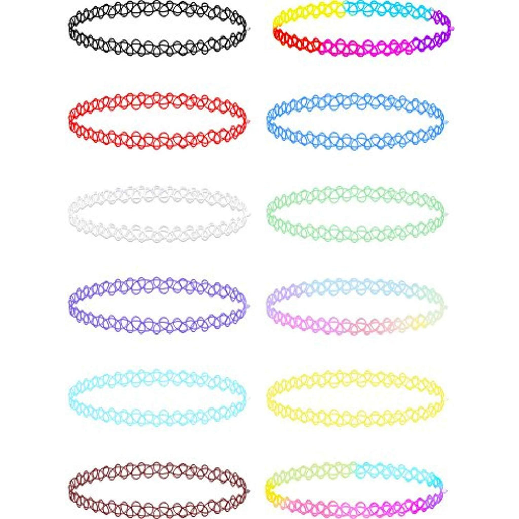 12 Pieces Stretchable Choker Necklaces