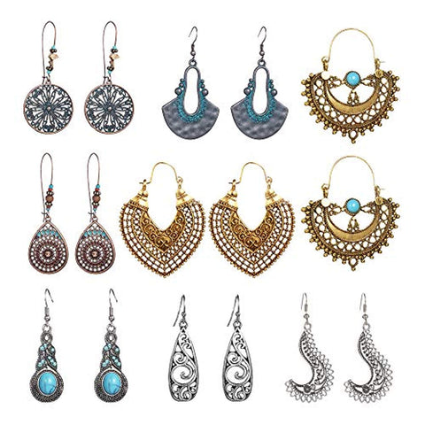 8 Pairs Vintage Statement Earrings