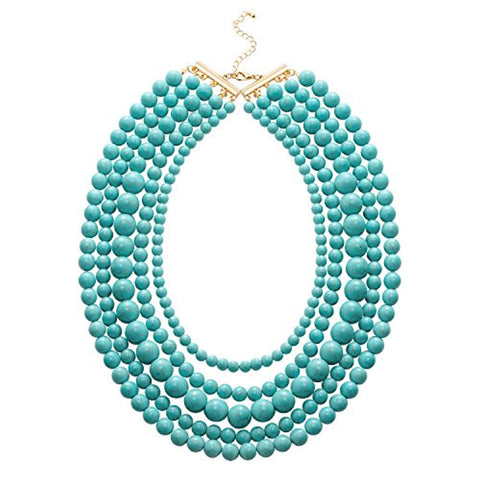 5-Row Multi-Layered Acrylic Turquoise Necklace