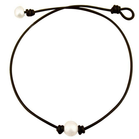 Single Pearl Leather Choker Necklace