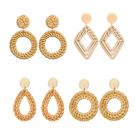 Woven Rattan Handmade Earrings