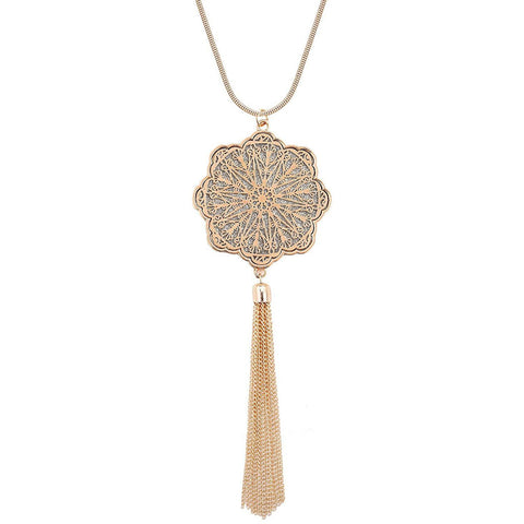 Handmade Y – knotted Long Tassel Necklace
