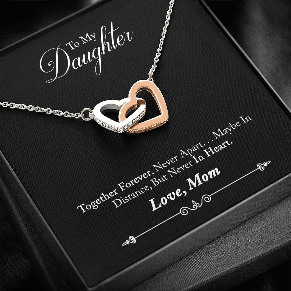 Necklace 'Interlocking Hearts' To My Daughter Love Mom - Message Card 01