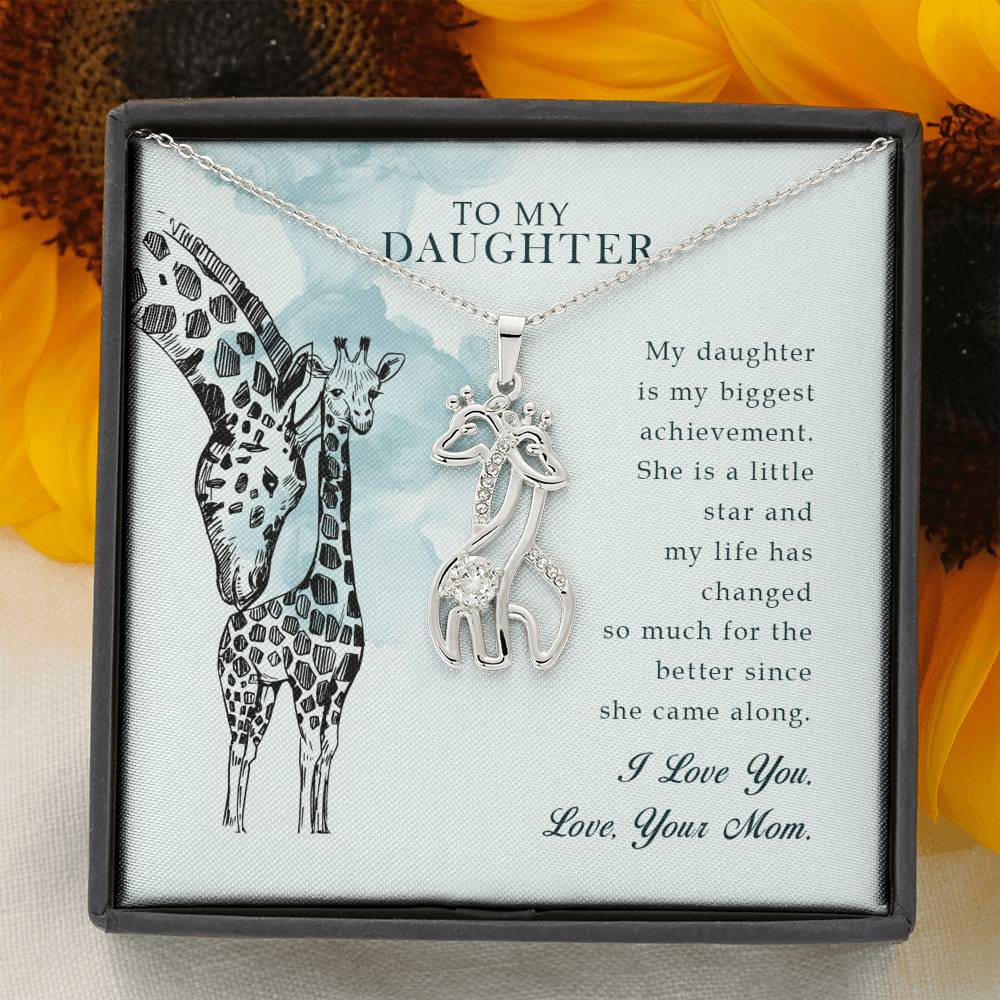 Necklace 'Love Giraffe' To My Daughter  Love Mom - Message Card 02