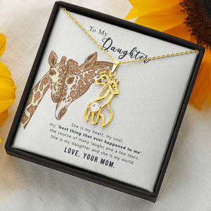 Necklace 'Love Giraffe' To My Daughter  Love Mom - Message Card 01