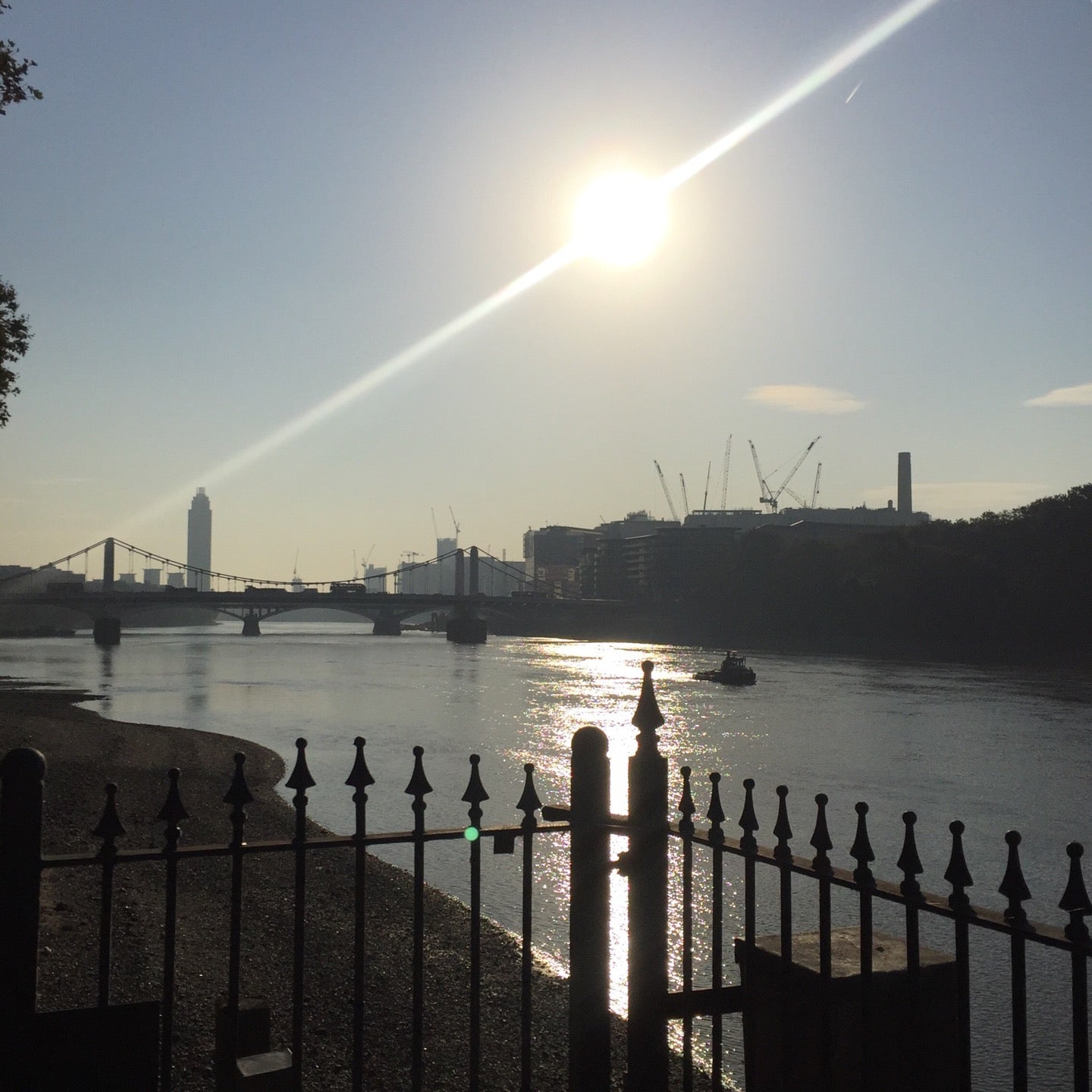 sun while running along the river