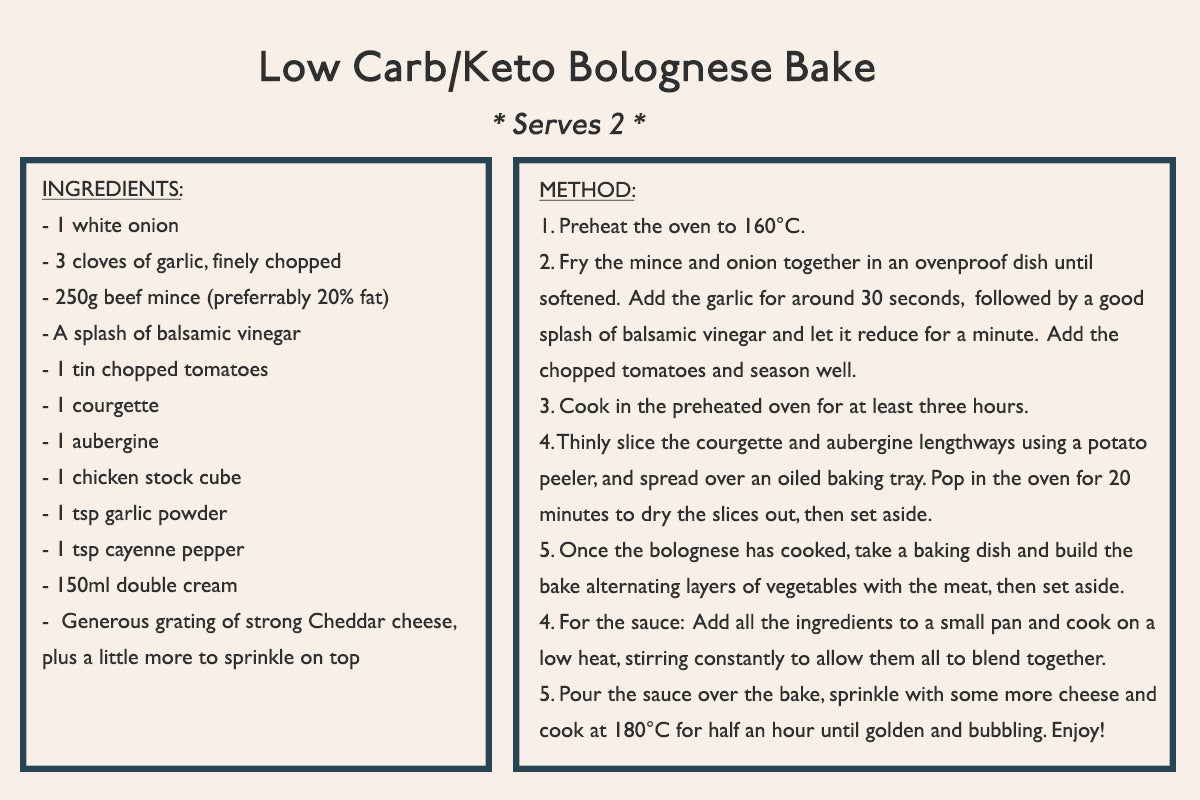 Low carb/Keto Bolognese Bake - Fuss-free, nutritious recipes
