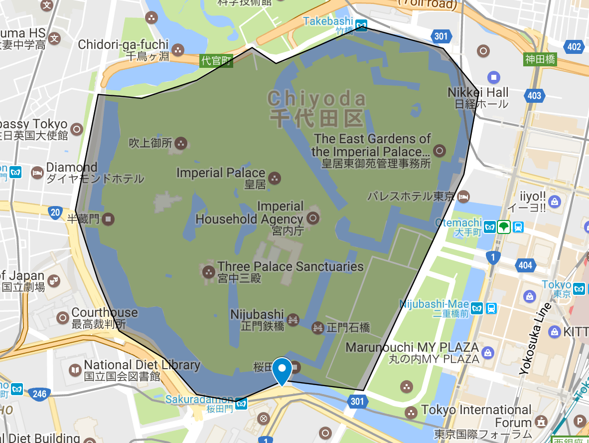 Map of Imperial Palace Loop