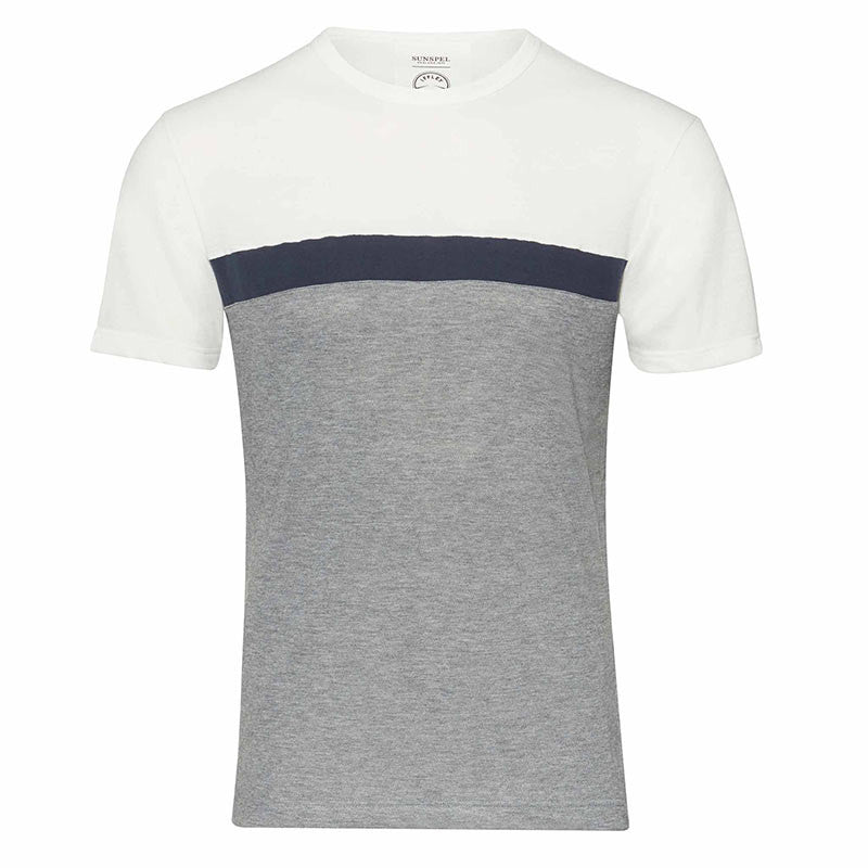 Stanley pebble grey, navy, white striped running t-shirt