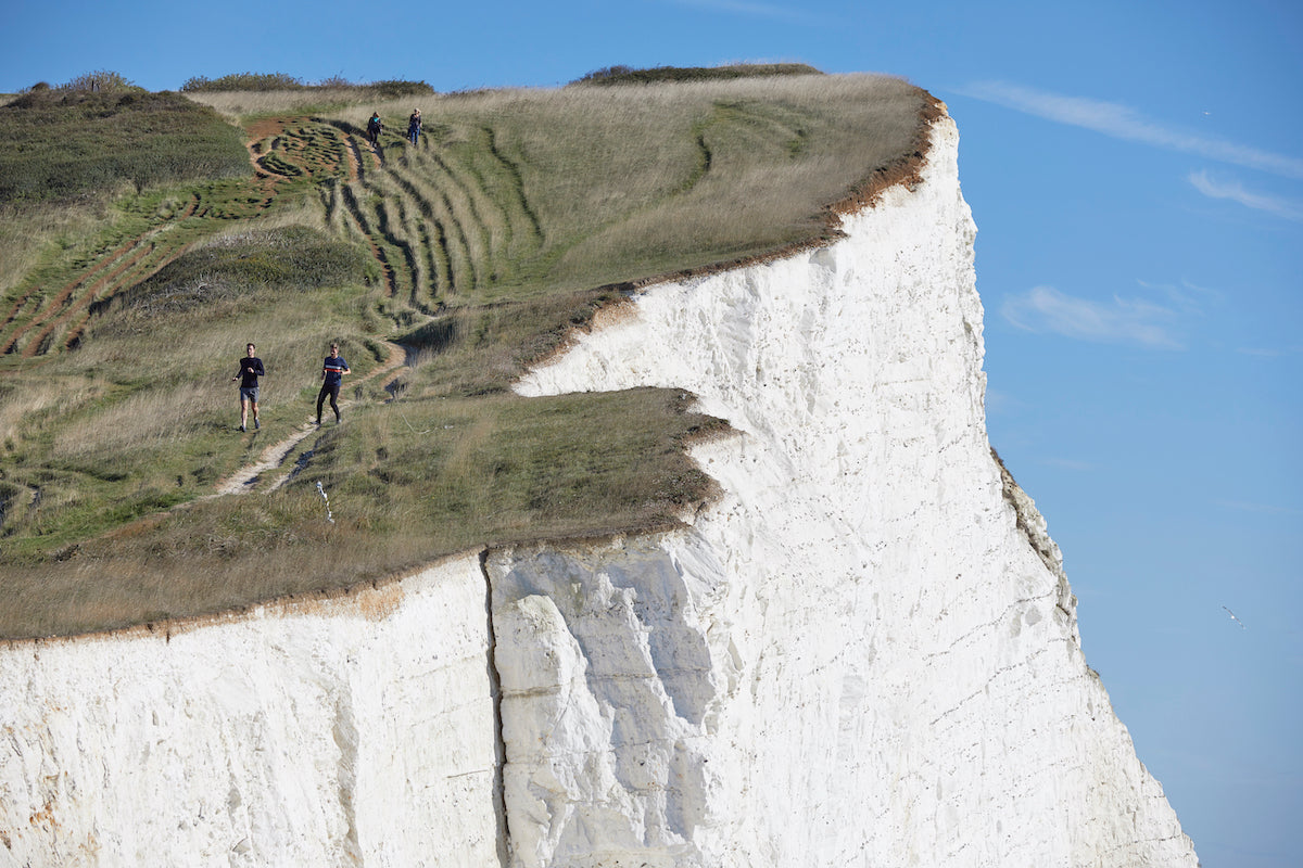 Running along the cliffs at Seaford