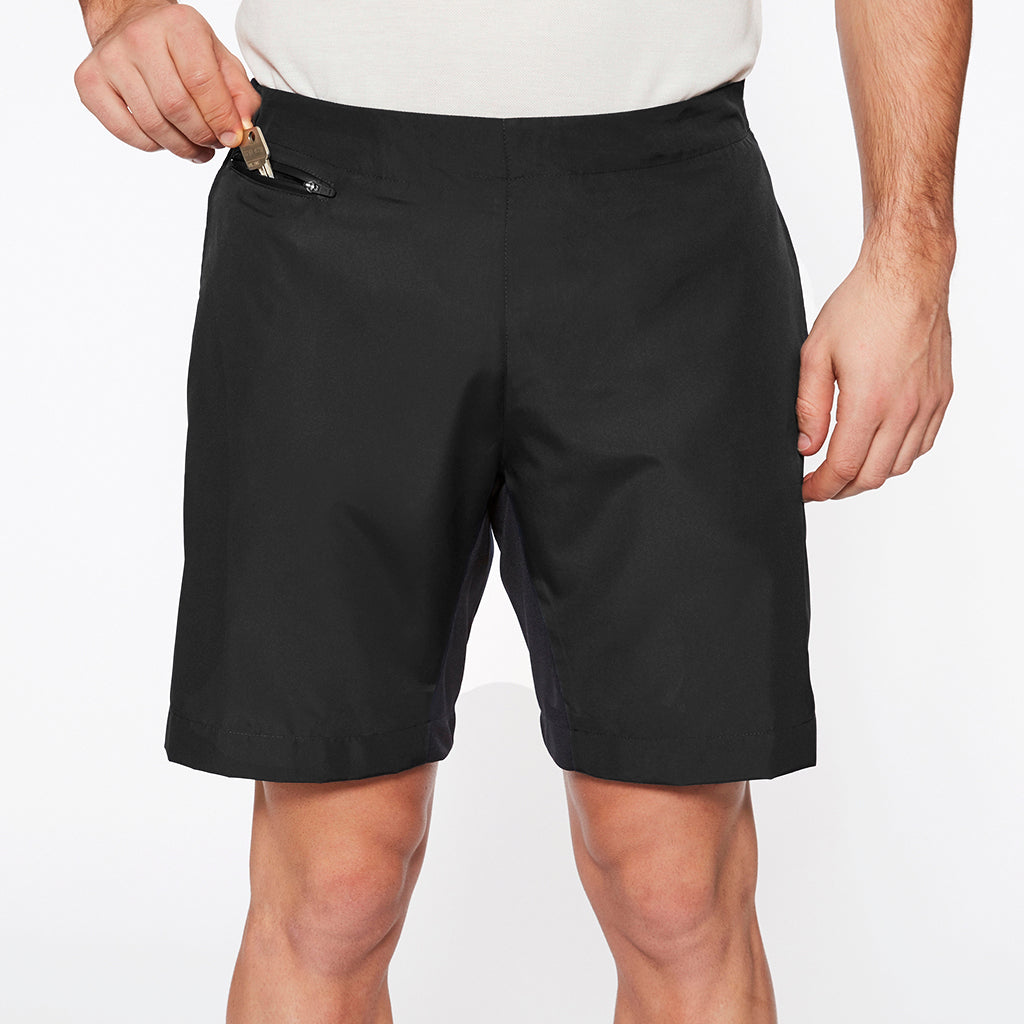 "Brighton 8"" Wide Leg Shorts Gravel Black"