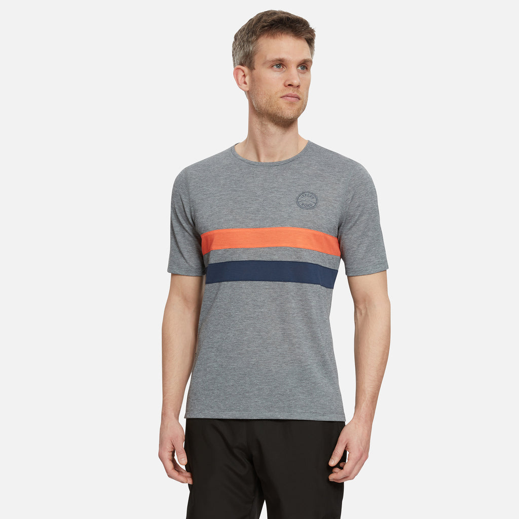 Cambrian Striped Drirelease T-Shirt Pebble Grey