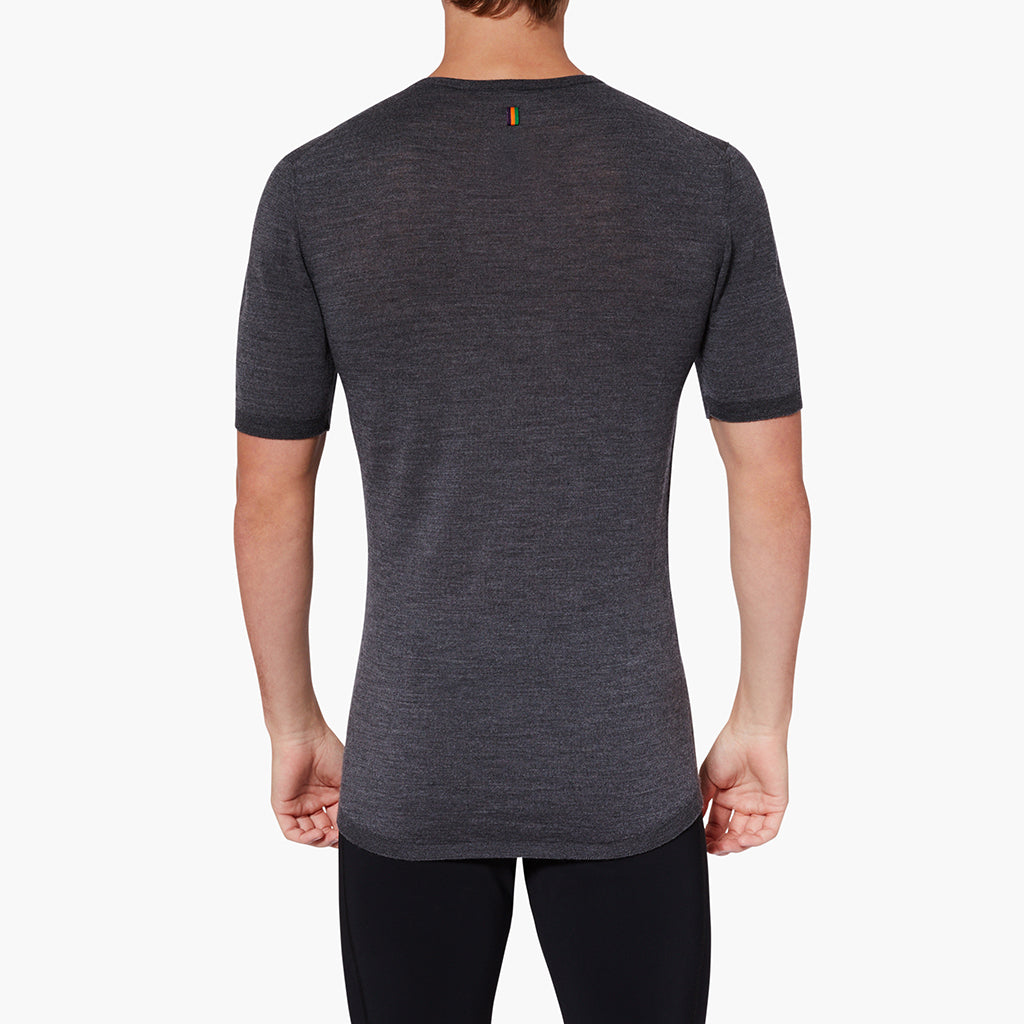 Pebble Grey Exmoor Merino Men's Base Layer