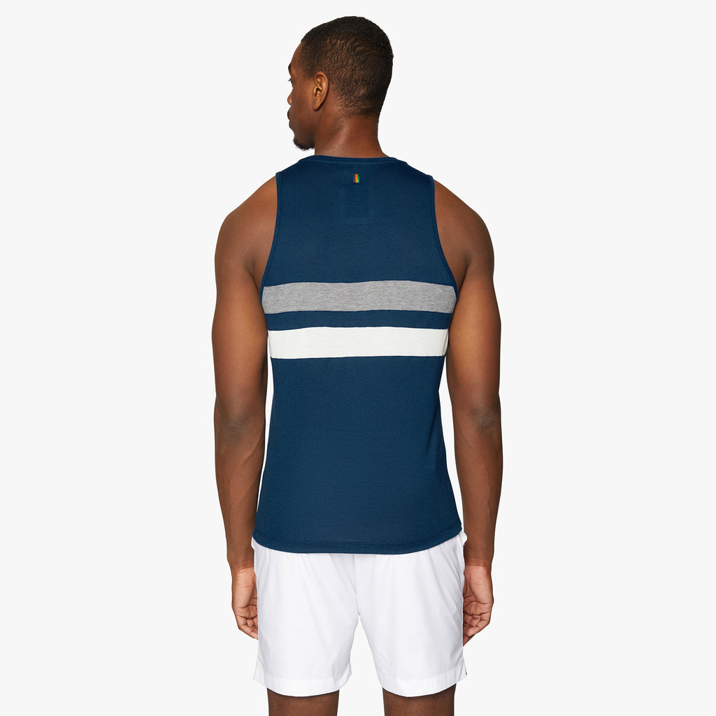 Lancaster Striped Drirelease® Vest Oxford Blue