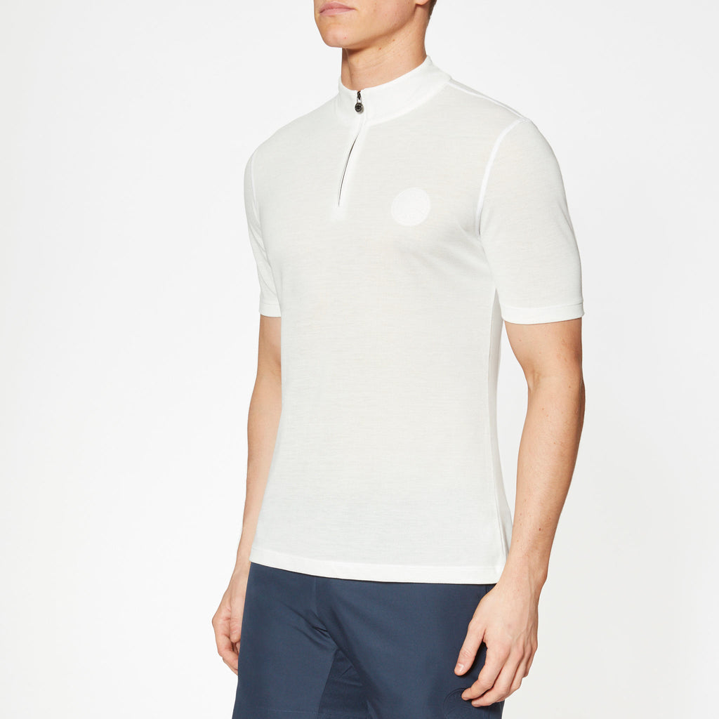 Sidmouth track white halfzip top