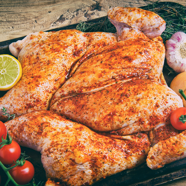 1.3kg full flatty chicken. Available in lemon and herb, chili, BBQ or sosatie flavour. Purchase yours today!