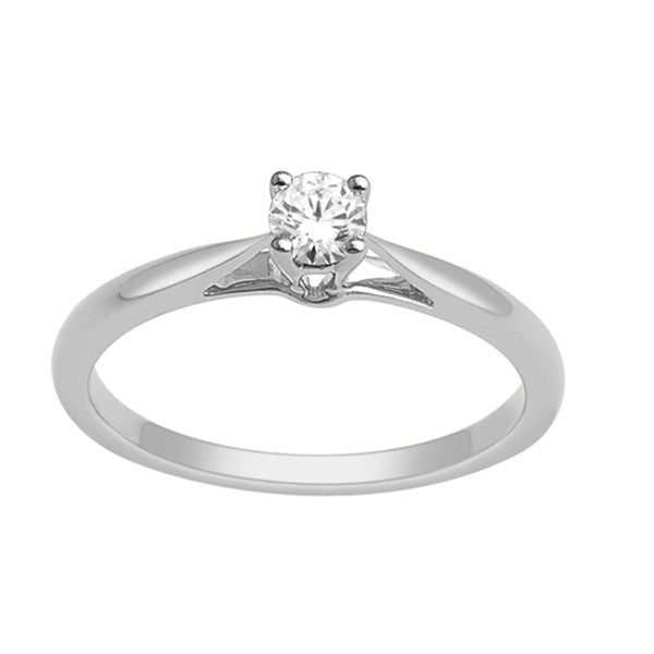 14Kt White Gold Solitaire Diamond Ring With 1/5 Carat Round Diamond