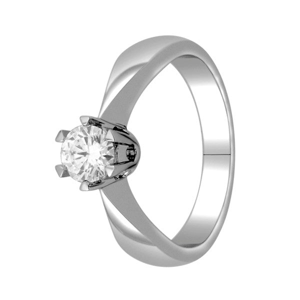 Gia Certified 14Kt White Gold Solitaire Diamond Ring With 1/2 Carat Round Diamond