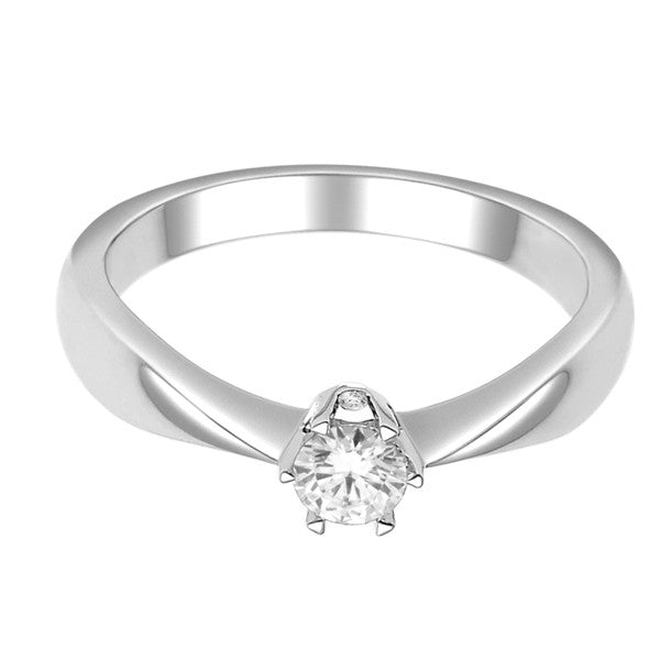 14Kt White Gold Solitaire Diamond Ring With 1/4 Carat Round Diamond