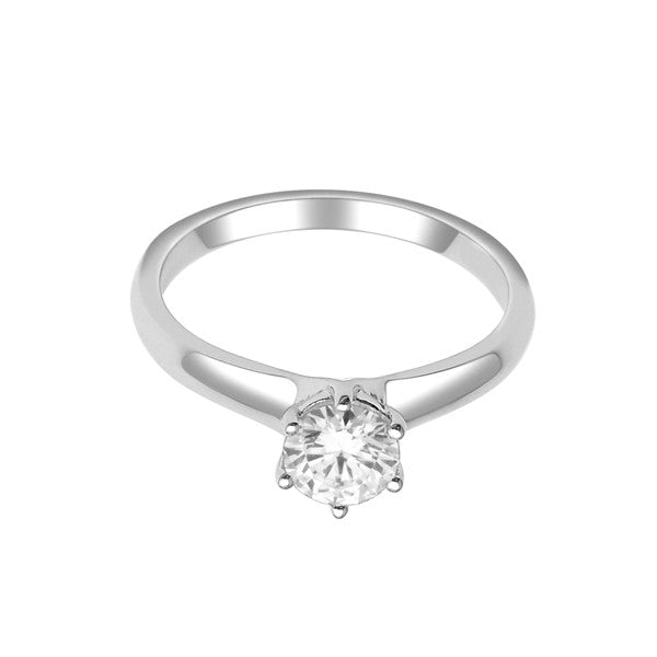 Gia Certified 14Kt White Gold Solitaire Diamond Ring With 3/4 Carat Round Diamond