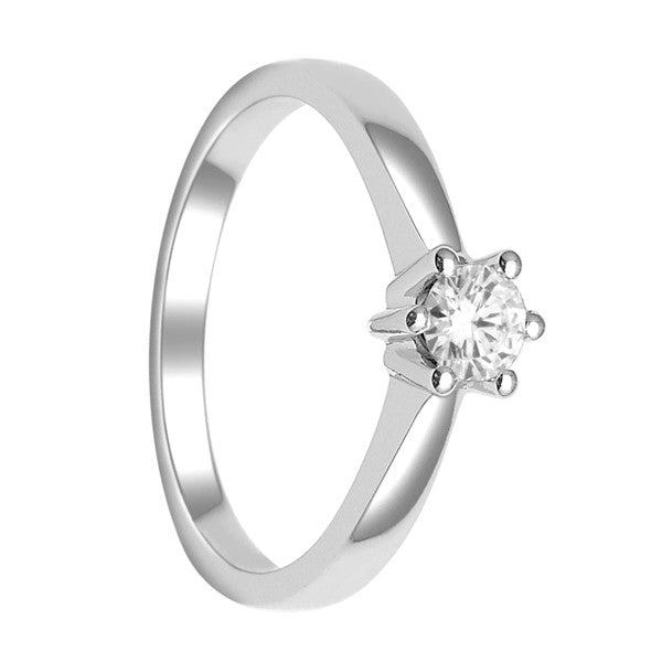 Gia Certified 14Kt White Gold Solitaire Diamond Ring With  1/3 Carat Round Diamond