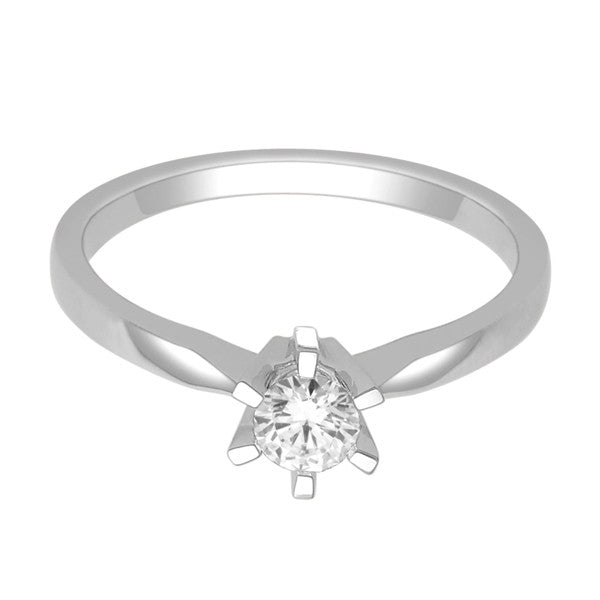 14Kt White Gold Solitaire Diamond Ring With 3/8 Carat Round Diamond