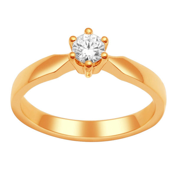 Gia Certified 14Kt Yellow Gold Solitaire Diamond Ring With  1/3 Carat Round Diamond