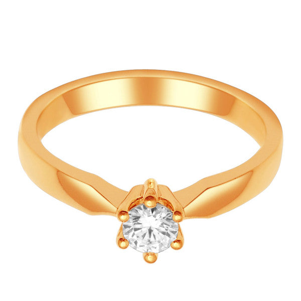 14Kt Yellow Gold Solitaire Diamond Ring With 1/3 Carat Round Diamond