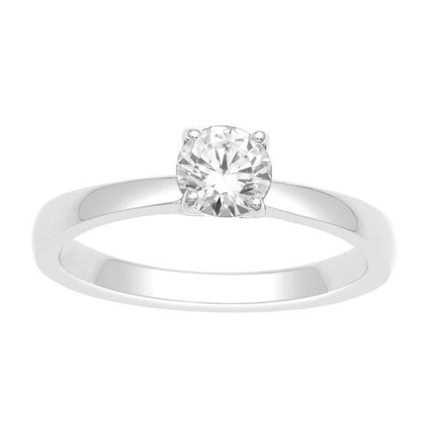14Kt White Gold Solitaire Diamond Ring With 1/2 Carat Round Diamond