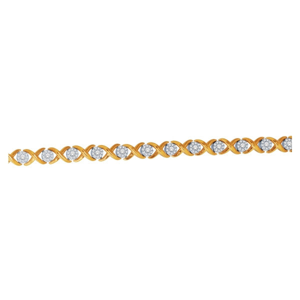 14Kt Yellow Gold Diamond Bracelet With 1 Carat Tw Of Diamonds