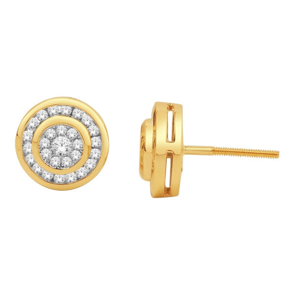 Cluster Stud Earrings With 1/2 Carat Tw Diamonds In 14Kt Yellow Gold