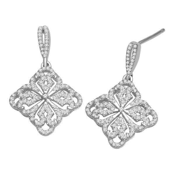 Drop Earrings With 1/2 Carat Tw Diamonds In 14Kt White Gold