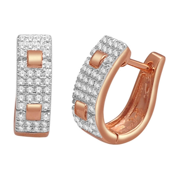 Hoop Earrings With 1/4 Carat Tw Diamonds In 14Kt Rose Gold