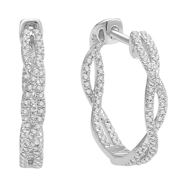 Hoop Earrings With 1/3 Carat Tw Diamonds In 14Kt White Gold
