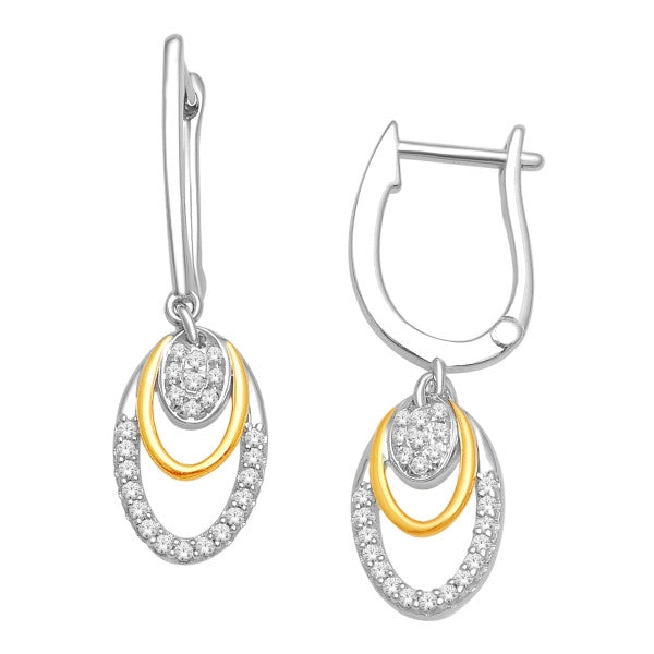 Drop Earrings With 1/4 Carat Tw Diamonds In 14Kt White/Yellow Gold