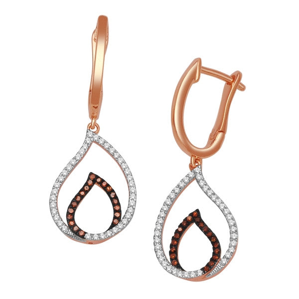 Drop Earrings With 1/3 Carat Tw Diamonds In 14Kt White/Rose Gold