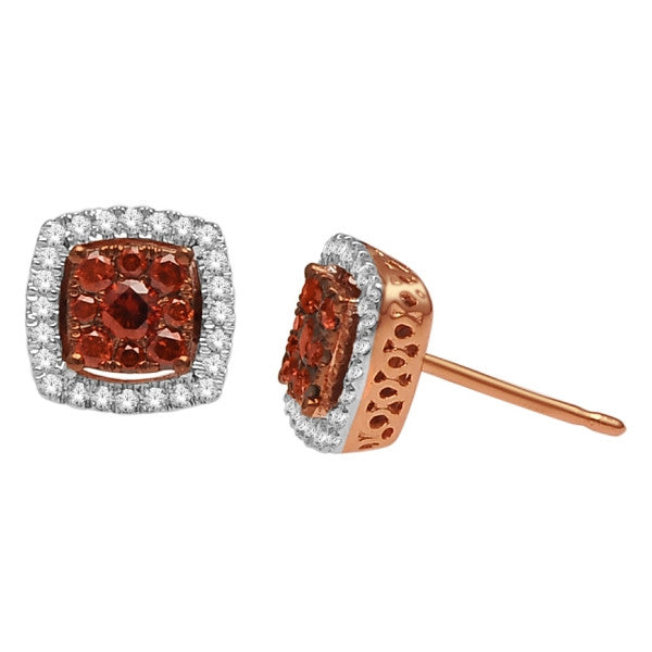 Cluster Stud Earrings With 0.45 Carat Tw Diamonds In 14Kt White/Rose Gold